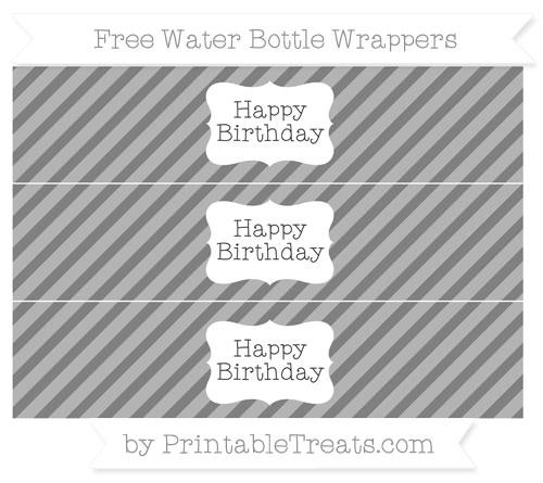 Free Grey Diagonal Striped Happy Birhtday Water Bottle Wrappers