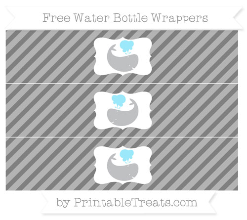 Free Grey Diagonal Striped Whale Water Bottle Wrappers