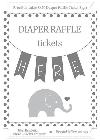 Free Grey Dotted Baby Elephant 8x10 Diaper Raffle Ticket Sign