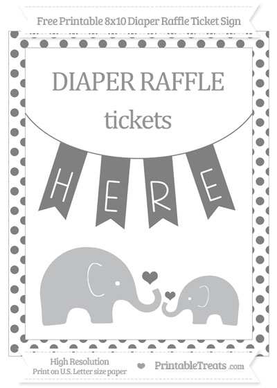Free Grey Dotted Elephant 8x10 Diaper Raffle Ticket Sign