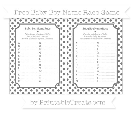 Free Grey Dotted Pattern Baby Boy Name Race Game