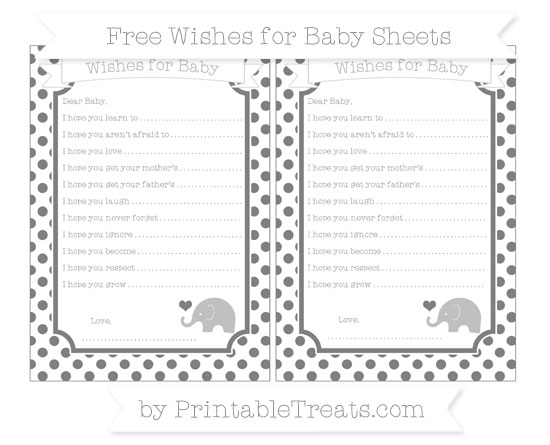 Free Grey Dotted Pattern Baby Elephant Wishes for Baby Sheets