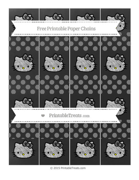 Free Grey Dotted Pattern Chalk Style Hello Kitty Paper Chains
