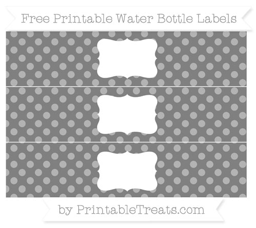 Free Grey Dotted Pattern Water Bottle Labels
