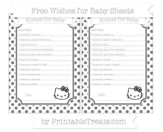 Free Grey Dotted Pattern Hello Kitty Wishes for Baby Sheets