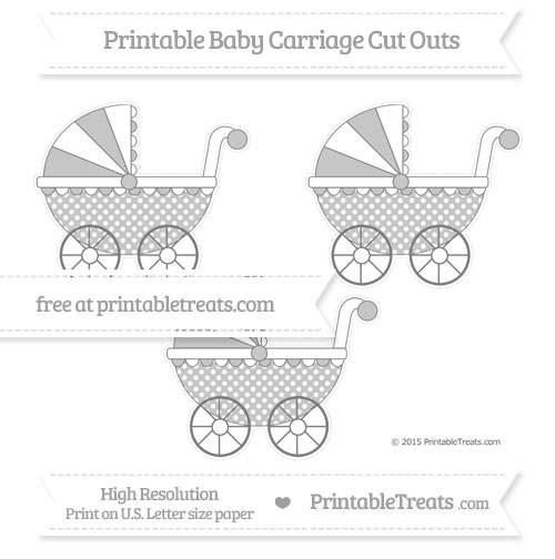 Free Grey Dotted Pattern Medium Baby Carriage Cut Outs