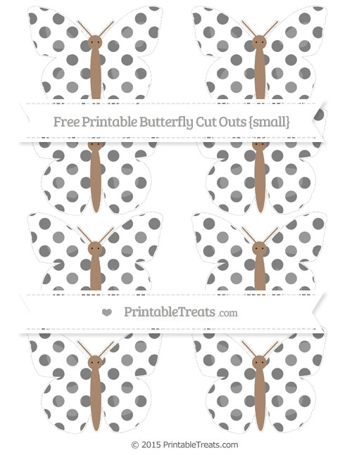 Free Grey Dotted Pattern Small Butterfly Cut Outs