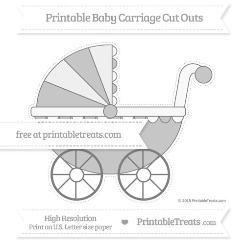 Free Grey Extra Large Baby Carriage Cut Outs