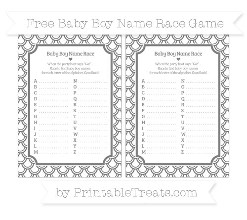 Free Grey Fish Scale Pattern Baby Boy Name Race Game