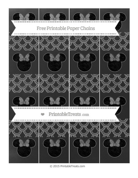 Free Grey Fish Scale Pattern Chalk Style Minnie Mouse Paper Chains