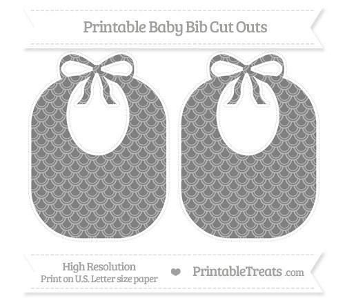 Free Grey Fish Scale Pattern Large Baby Bib Cut Outs