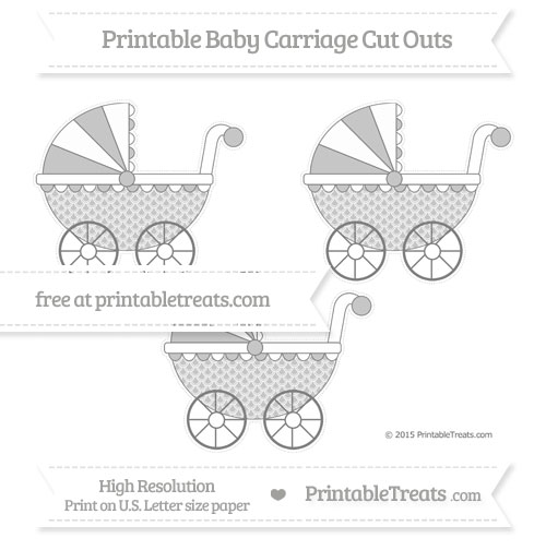 Free Grey Fish Scale Pattern Medium Baby Carriage Cut Outs