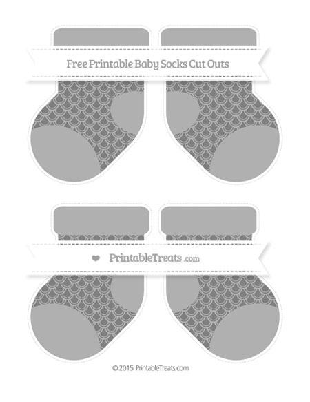 Free Grey Fish Scale Pattern Medium Baby Socks Cut Outs