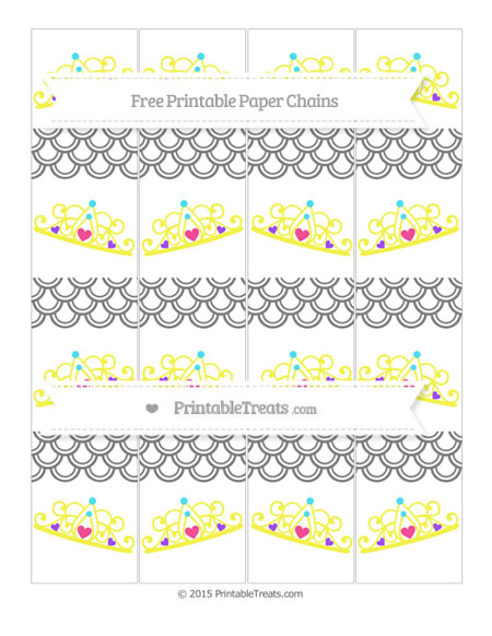 Free Grey Fish Scale Pattern Princess Tiara Paper Chains