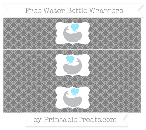 Free Grey Fish Scale Pattern Whale Water Bottle Wrappers
