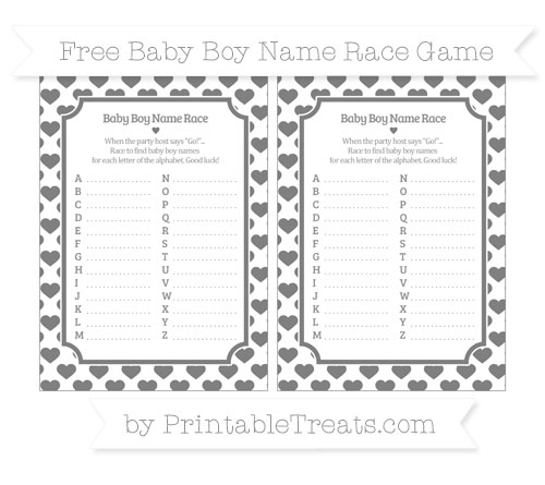Free Grey Heart Pattern Baby Boy Name Race Game