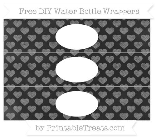Free Grey Heart Pattern Chalk Style DIY Water Bottle Wrappers