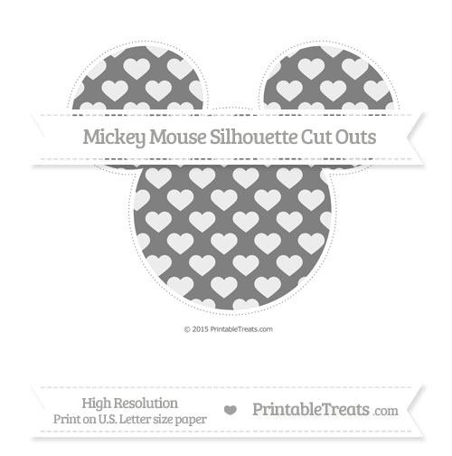 Free Grey Heart Pattern Extra Large Mickey Mouse Silhouette Cut Outs