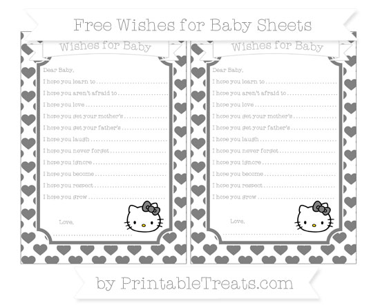 Free Grey Heart Pattern Hello Kitty Wishes for Baby Sheets