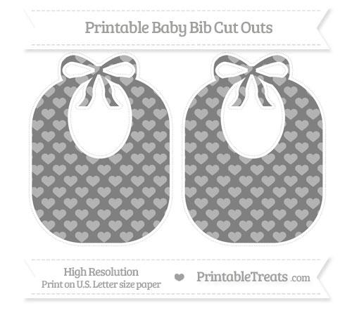 Free Grey Heart Pattern Large Baby Bib Cut Outs