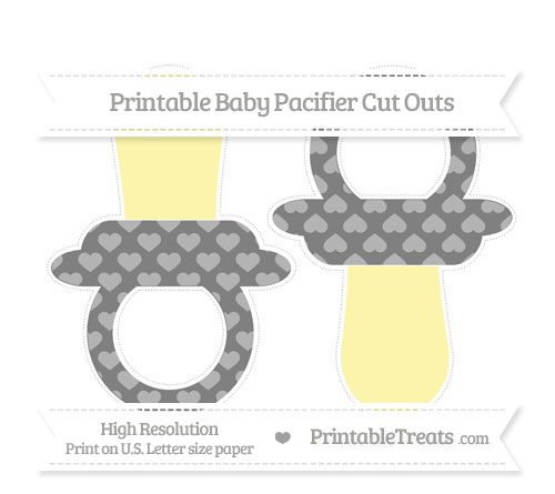 Free Grey Heart Pattern Large Baby Pacifier Cut Outs