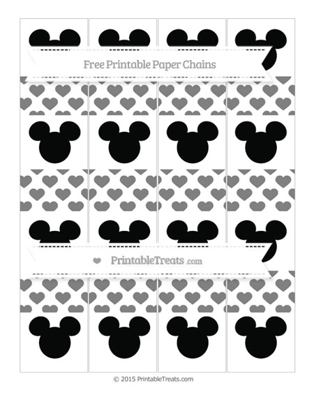 Free Grey Heart Pattern Mickey Mouse Paper Chains