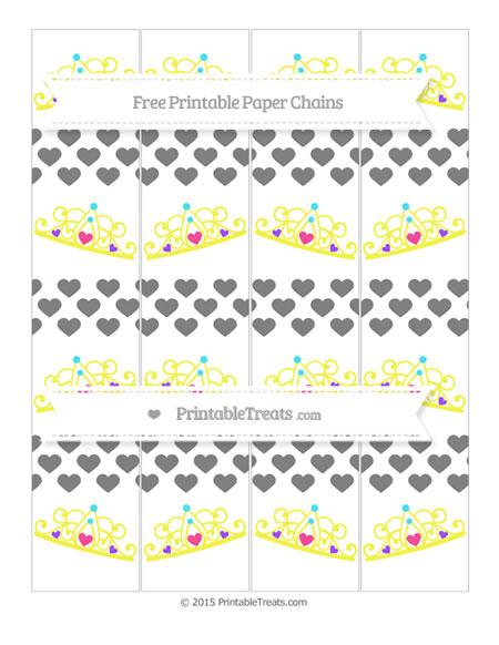 Free Grey Heart Pattern Princess Tiara Paper Chains