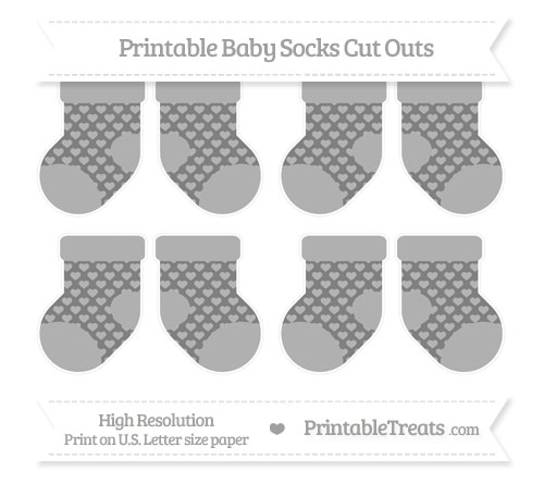 Free Grey Heart Pattern Small Baby Socks Cut Outs