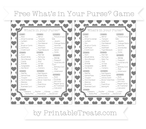 Free Grey Heart Pattern What's in Your Purse Baby Shower Game