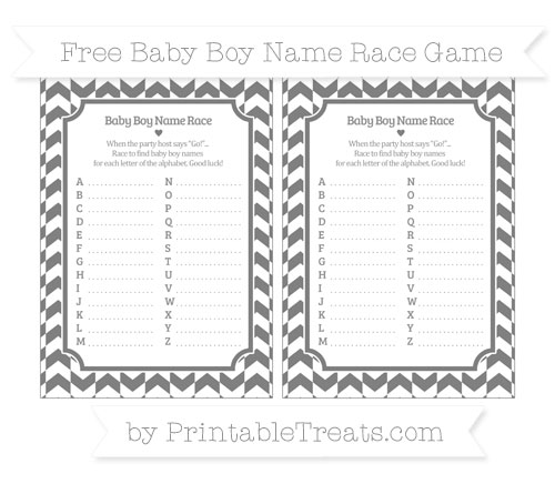 Free Grey Herringbone Pattern Baby Boy Name Race Game
