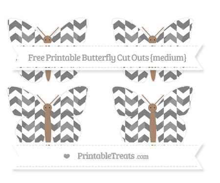 Free Grey Herringbone Pattern Medium Butterfly Cut Outs