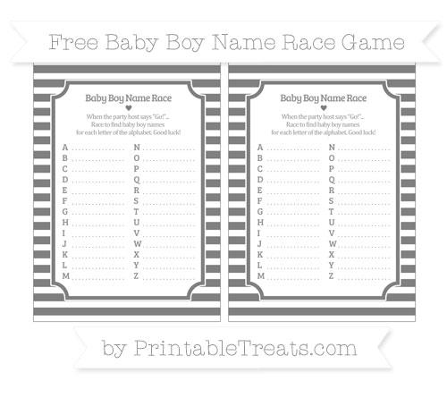 Free Grey Horizontal Striped Baby Boy Name Race Game