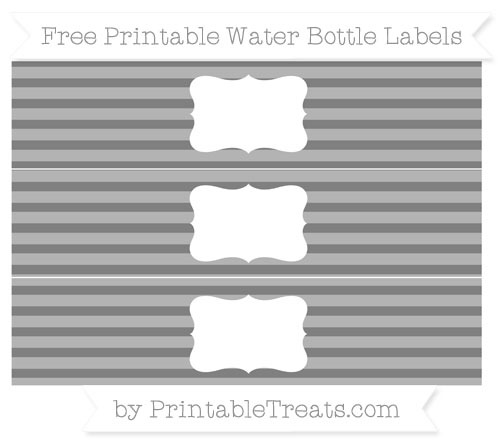 Free Grey Horizontal Striped Water Bottle Labels