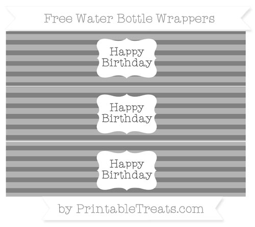 Free Grey Horizontal Striped Happy Birhtday Water Bottle Wrappers