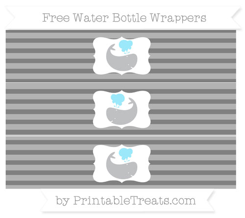 Free Grey Horizontal Striped Whale Water Bottle Wrappers
