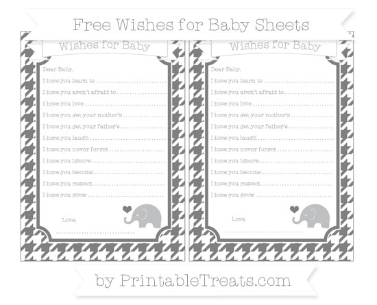 Free Grey Houndstooth Pattern Baby Elephant Wishes for Baby Sheets