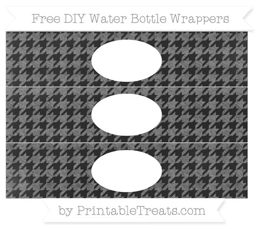 Free Grey Houndstooth Pattern Chalk Style DIY Water Bottle Wrappers