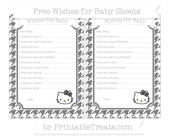 Free Grey Houndstooth Pattern Hello Kitty Wishes for Baby Sheets