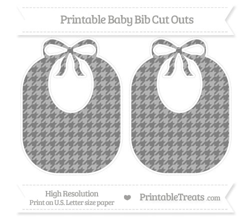 Free Grey Houndstooth Pattern Large Baby Bib Cut Outs
