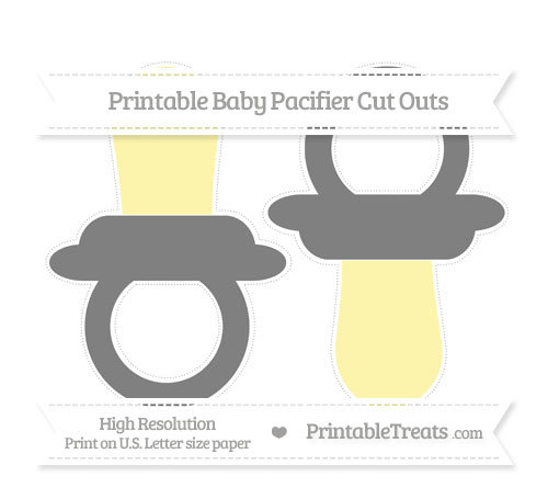 Free Grey Large Baby Pacifier Cut Outs