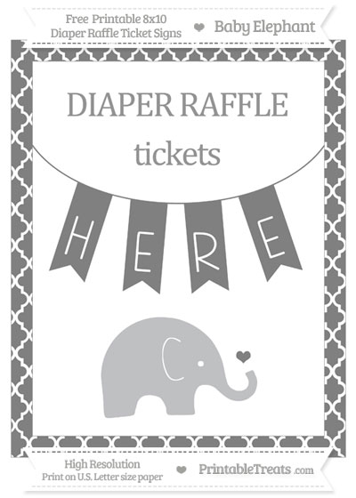 Free Grey Moroccan Tile Baby Elephant 8x10 Diaper Raffle Ticket Sign
