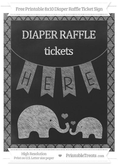 Free Grey Moroccan Tile Chalk Style Elephant 8x10 Diaper Raffle Ticket Sign