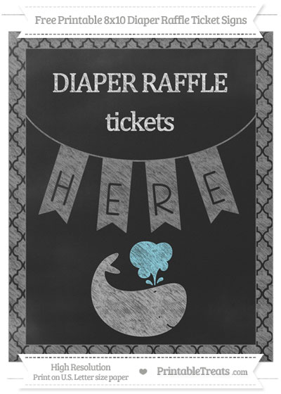 Free Grey Moroccan Tile Chalk Style Whale 8x10 Diaper Raffle Ticket Sign