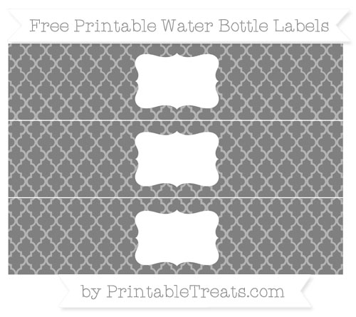 Free Grey Moroccan Tile Water Bottle Labels