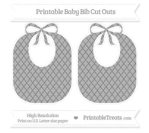 Free Grey Moroccan Tile Large Baby Bib Cut Outs