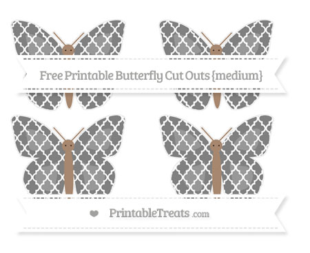 Free Grey Moroccan Tile Medium Butterfly Cut Outs