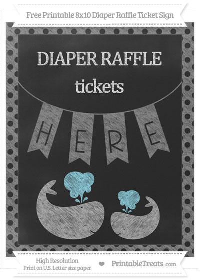 Free Grey Polka Dot Chalk Style Baby Whale 8x10 Diaper Raffle Ticket Sign