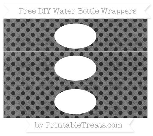 Free Grey Polka Dot Chalk Style DIY Water Bottle Wrappers
