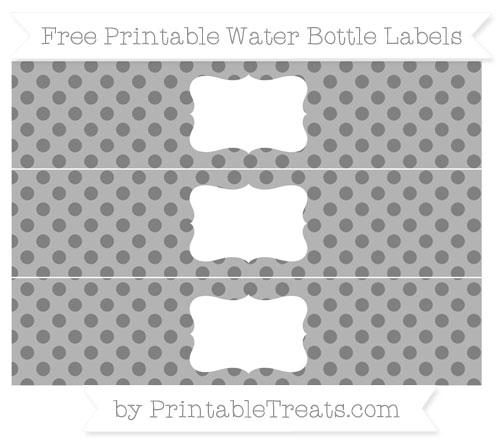 Free Grey Polka Dot Water Bottle Labels