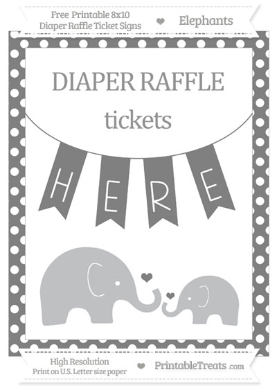 Free Grey Polka Dot Elephant 8x10 Diaper Raffle Ticket Sign